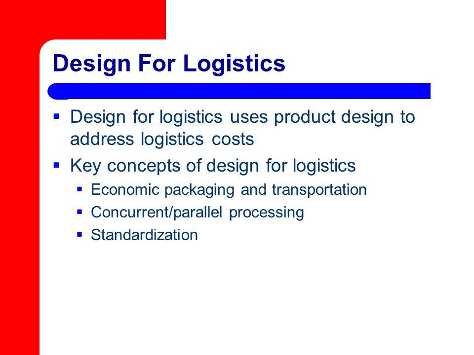Design For Logistics  Design for logistics uses product design to address logistics costs  Key concepts of design for logistics  Economic packaging