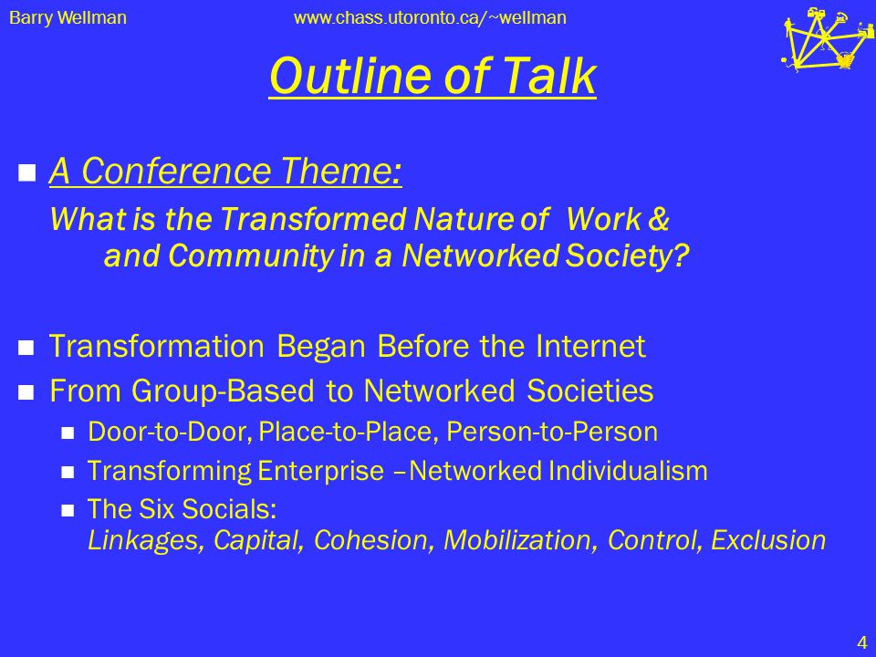 Door-to Door Groups Place-to- Place Glocalizatio n Person-to-Person Networked Individualism