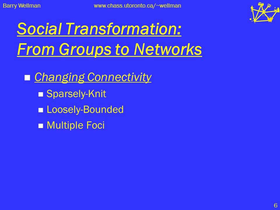 Barry Wellmanwww.chass.utoronto.ca/~wellman 6 Social Transformation: From Groups to Networks Changing Connectivity Sparsely-Knit Loosely-Bounded Multi