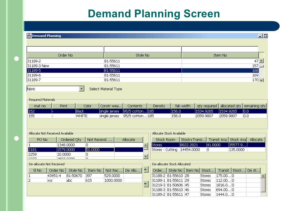 Demand Planning Screen