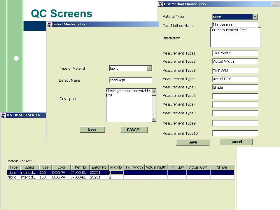 QC Screens