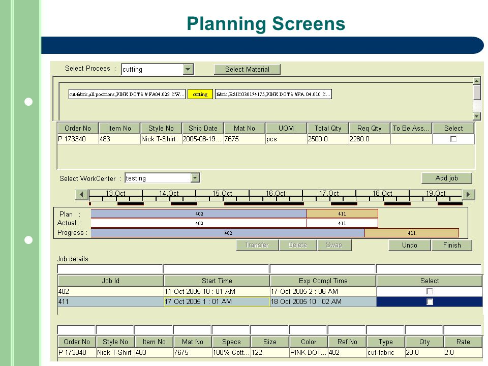 Planning Screens