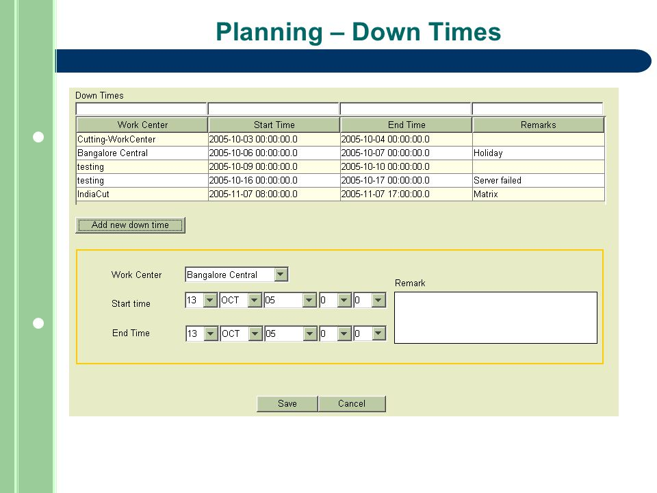 Planning – Down Times