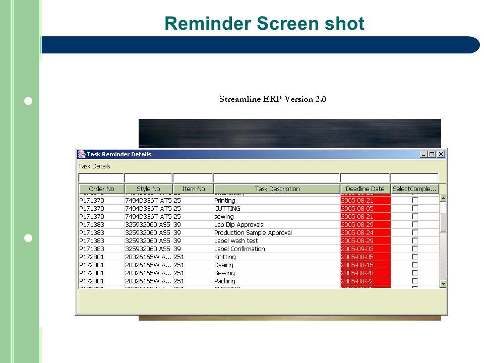Reminder Screen shot