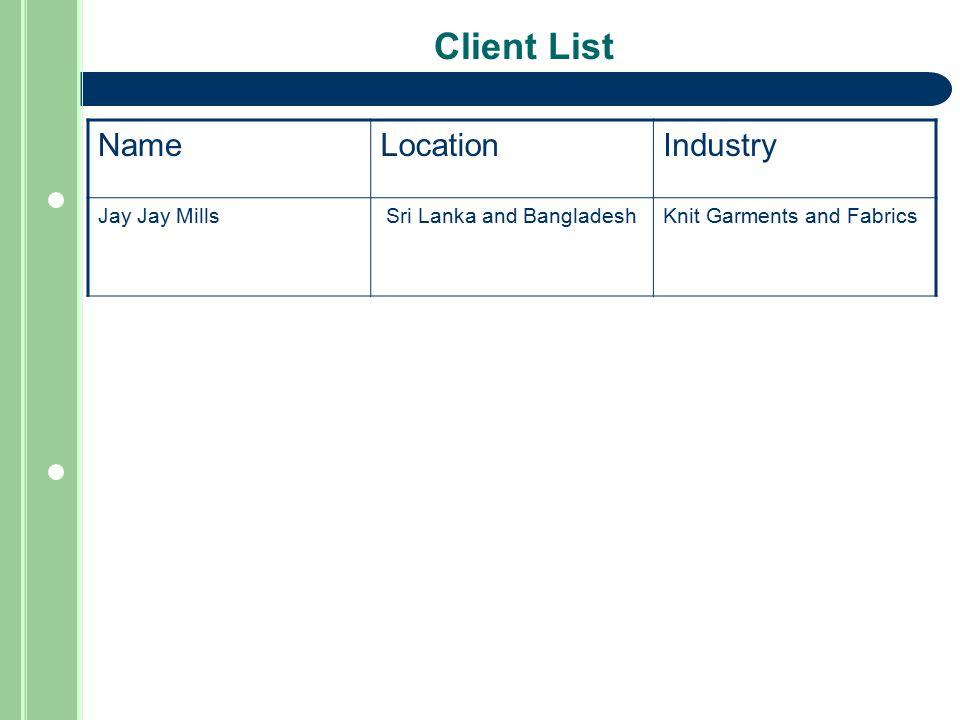 Client List NameLocationIndustry Jay Jay Mills Sri Lanka and BangladeshKnit Garments and Fabrics