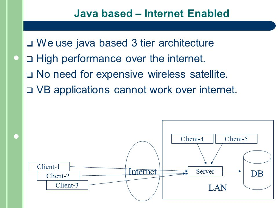 Java based – Internet Enabled  We use java based 3 tier architecture  High performance over the internet.