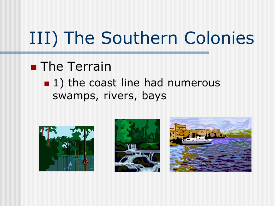 III) The Southern Colonies The Terrain 1) the coast line had numerous swamps, rivers, bays