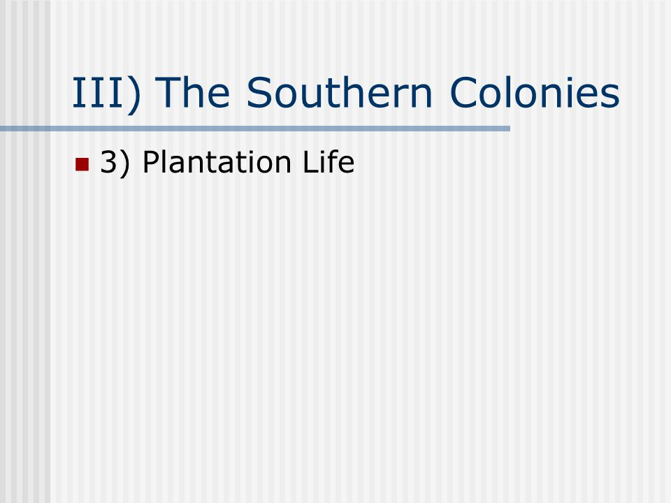 III) The Southern Colonies 3) Plantation Life