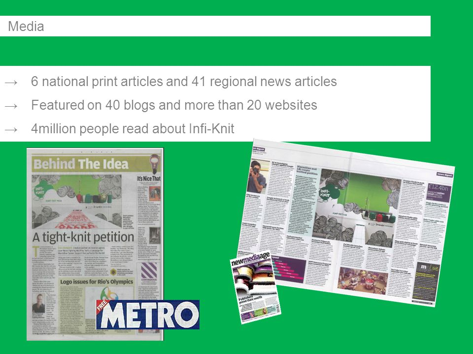 →6 national print articles and 41 regional news articles →Featured on 40 blogs and more than 20 websites →4million people read about Infi-Knit Media