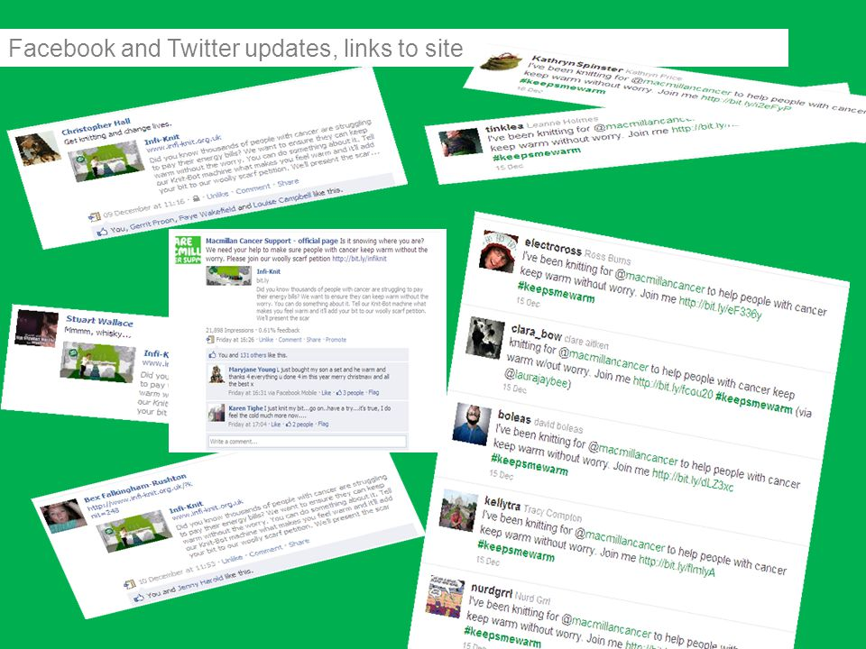 Facebook and Twitter updates, links to site