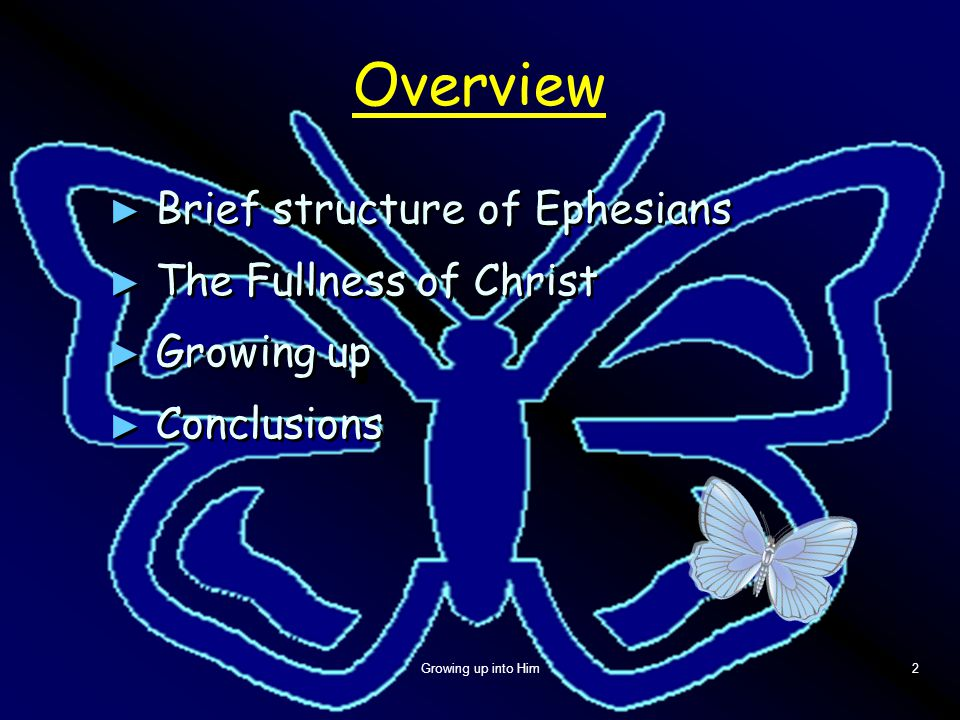 Growing up into Him2 Overview ► Brief structure of Ephesians ► The Fullness of Christ ► Growing up ► Conclusions ► Brief structure of Ephesians ► The