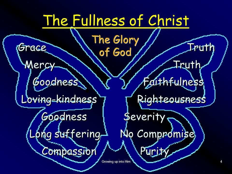 Growing up into Him4 The Fullness of Christ Grace Truth Mercy Truth Goodness Faithfulness Loving-kindness Righteousness Goodness Severity Long sufferi