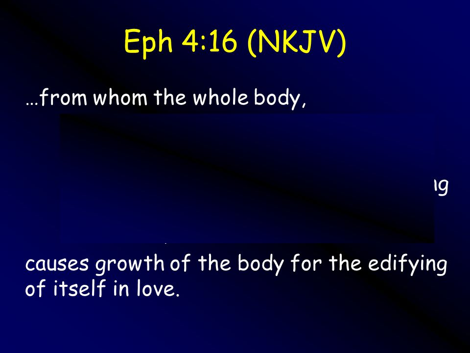 Growing up into Him8 Eph 4:16 (NKJV) …from whom the whole body, joined and knit together by what every joint supplies, according to the effective work