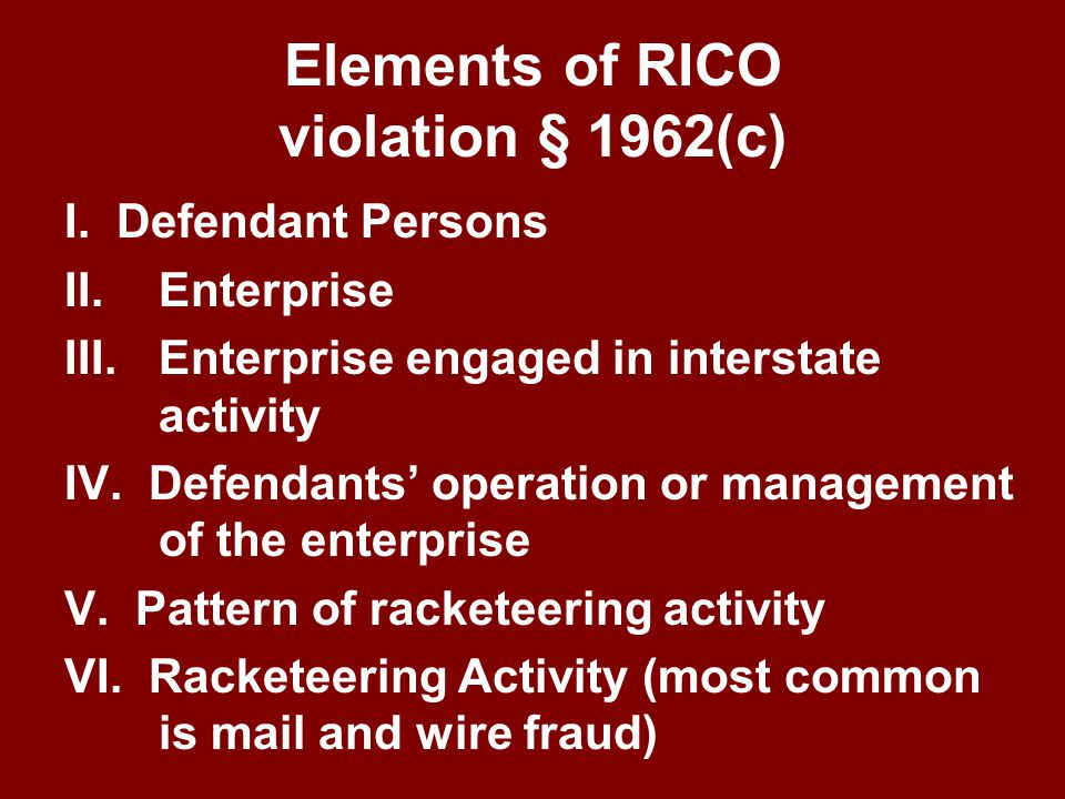 RICO Allegations Former employees who had filed WC claims against the employer allege that the employer, TPA and SMO physician committed mail and wire fraud in a scheme to deprive them of WC benefits The employer and TPA selected Dr.