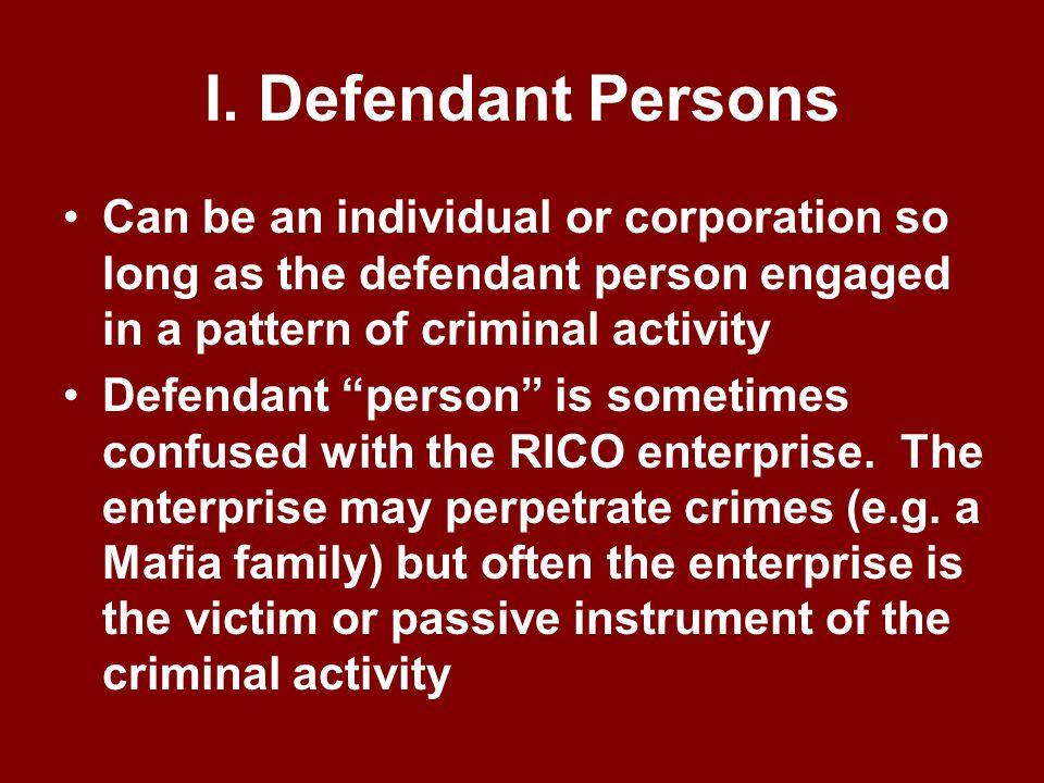 Elements of RICO violation § 1962(c) I. Defendant Persons II.Enterprise III.Enterprise engaged in interstate activity IV. Defendants' operation or man