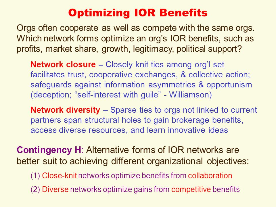 Optimizing IOR Benefits Orgs often cooperate as well as compete with the same orgs. Which network forms optimize an org's IOR benefits, such as profit