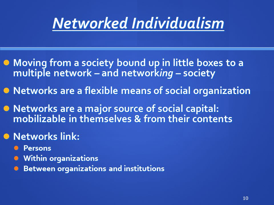 Networked Individualism Moving from a society bound up in little boxes to a multiple network – and networking – society Moving from a society bound up in little boxes to a multiple network – and networking – society Networks are a flexible means of social organization Networks are a flexible means of social organization Networks are a major source of social capital: mobilizable in themselves & from their contents Networks are a major source of social capital: mobilizable in themselves & from their contents Networks link: Networks link: Persons Persons Within organizations Within organizations Between organizations and institutions Between organizations and institutions 10