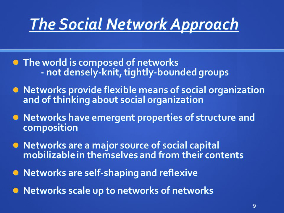 The Social Network Approach The world is composed of networks - not densely-knit, tightly-bounded groups The world is composed of networks - not densely-knit, tightly-bounded groups Networks provide flexible means of social organization and of thinking about social organization Networks provide flexible means of social organization and of thinking about social organization Networks have emergent properties of structure and composition Networks have emergent properties of structure and composition Networks are a major source of social capital mobilizable in themselves and from their contents Networks are a major source of social capital mobilizable in themselves and from their contents Networks are self-shaping and reflexive Networks are self-shaping and reflexive Networks scale up to networks of networks Networks scale up to networks of networks 9