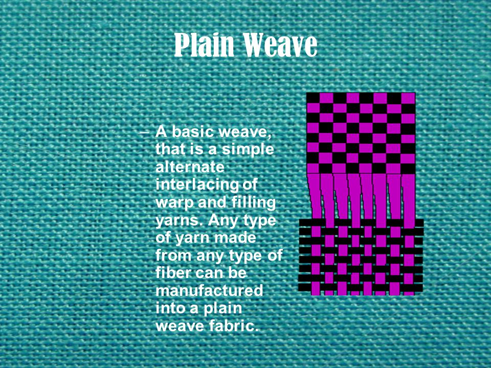 Plain Weave –A basic weave, that is a simple alternate interlacing of warp and filling yarns. Any type of yarn made from any type of fiber can be manu
