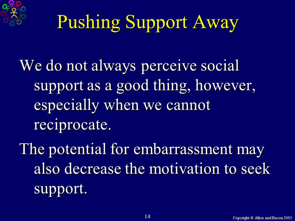 Copyright © Allyn and Bacon 2005 14 Pushing Support Away We do not always perceive social support as a good thing, however, especially when we cannot reciprocate.