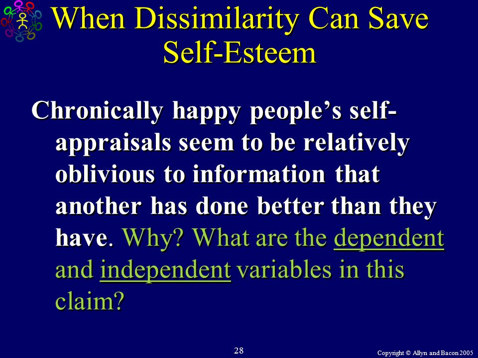 Copyright © Allyn and Bacon 2005 28 When Dissimilarity Can Save Self-Esteem Chronically happy people's self- appraisals seem to be relatively oblivious to information that another has done better than they have.