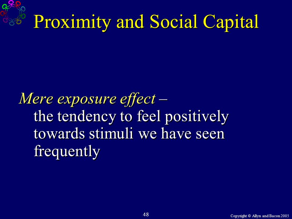 Copyright © Allyn and Bacon 2005 48 Proximity and Social Capital Mere exposure effect – the tendency to feel positively towards stimuli we have seen frequently