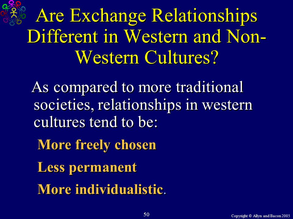 Copyright © Allyn and Bacon 2005 50 Are Exchange Relationships Different in Western and Non- Western Cultures.