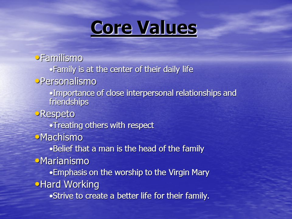 Core Values Familismo Familismo Family is at the center of their daily lifeFamily is at the center of their daily life Personalismo Personalismo Importance of close interpersonal relationships and friendshipsImportance of close interpersonal relationships and friendships Respeto Respeto Treating others with respectTreating others with respect Machismo Machismo Belief that a man is the head of the familyBelief that a man is the head of the family Marianismo Marianismo Emphasis on the worship to the Virgin MaryEmphasis on the worship to the Virgin Mary Hard Working Hard Working Strive to create a better life for their family.Strive to create a better life for their family.