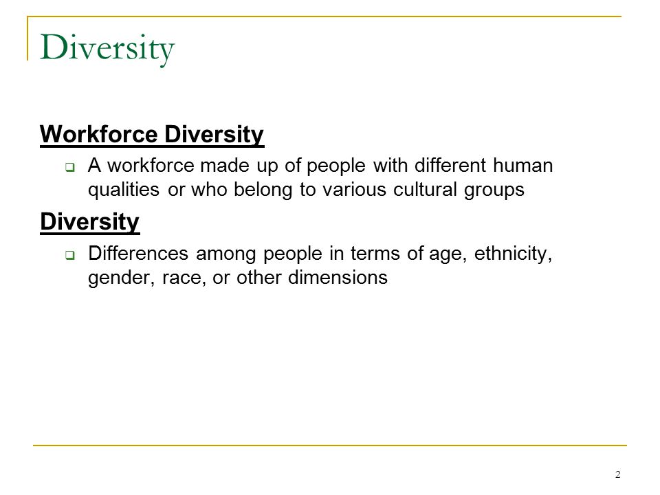 3 Dimensions of Diversity Age Ethnicity Gender Physical abilities/qualities Race Educational background Income Geographic location Marital status Military experience Religious beliefs Work experience Parental status Primary Secondary