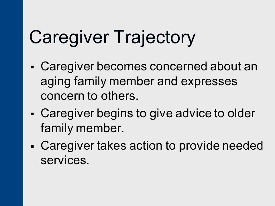 Caregiver Trajectory  Caregiver becomes concerned about an aging family member and expresses concern to others.