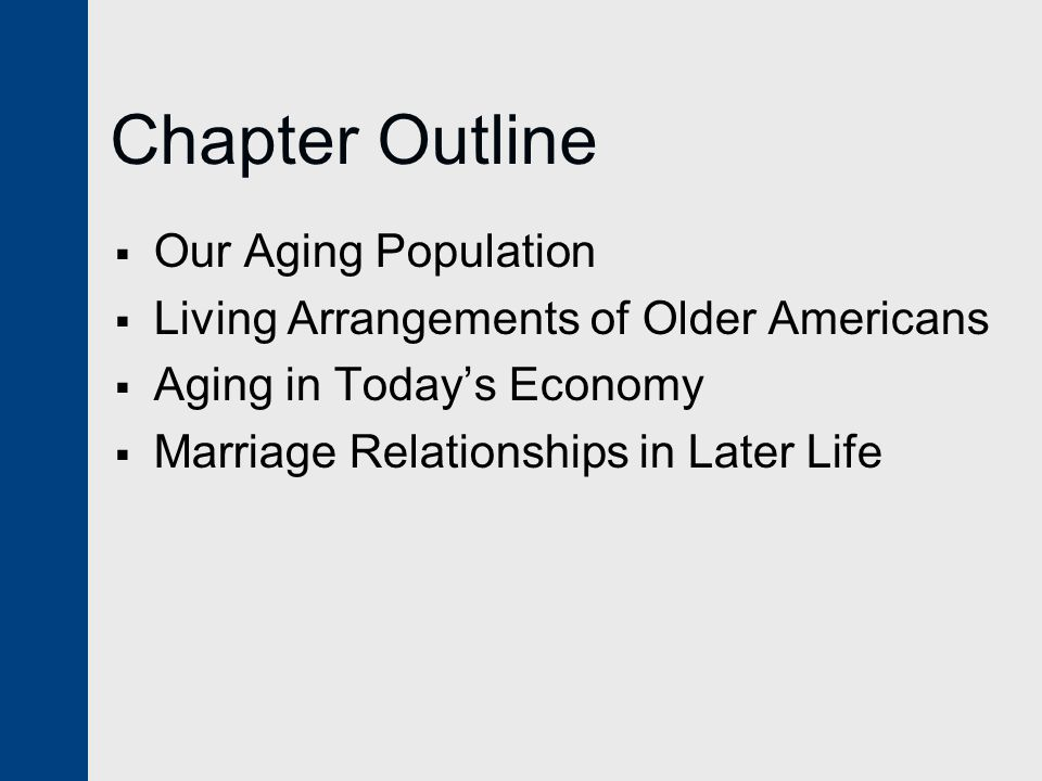 Chapter Outline  Our Aging Population  Living Arrangements of Older Americans  Aging in Today's Economy  Marriage Relationships in Later Life