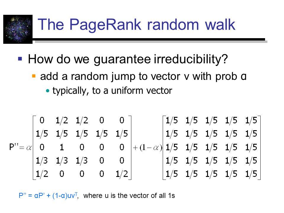 The PageRank random walk  How do we guarantee irreducibility.