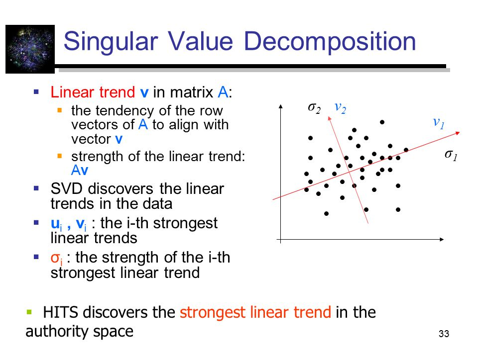 33 Singular Value Decomposition  Linear trend v in matrix A:  the tendency of the row vectors of A to align with vector v  strength of the linear trend: Av  SVD discovers the linear trends in the data  u i, v i : the i-th strongest linear trends  σ i : the strength of the i-th strongest linear trend σ1σ1 σ2σ2 v1v1 v2v2  HITS discovers the strongest linear trend in the authority space