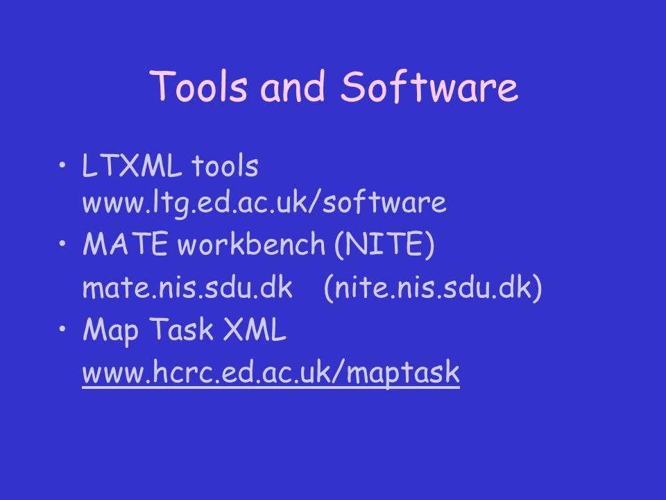 Tools and Software LTXML tools www.ltg.ed.ac.uk/software MATE workbench (NITE) mate.nis.sdu.dk(nite.nis.sdu.dk) Map Task XML www.hcrc.ed.ac.uk/maptask