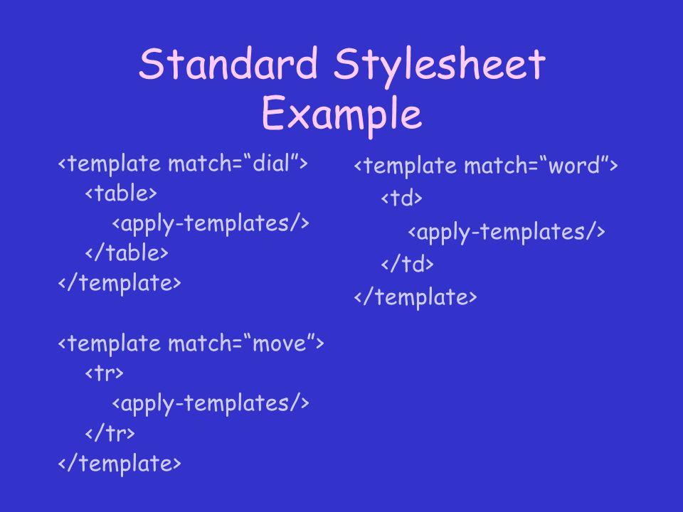 Standard Stylesheet Example