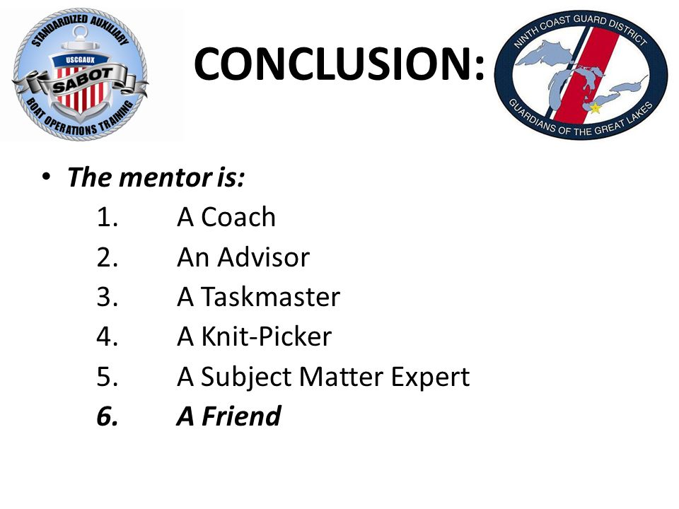 CONCLUSION: The mentor is: 1.A Coach 2.An Advisor 3.A Taskmaster 4.A Knit-Picker 5.A Subject Matter Expert 6.A Friend