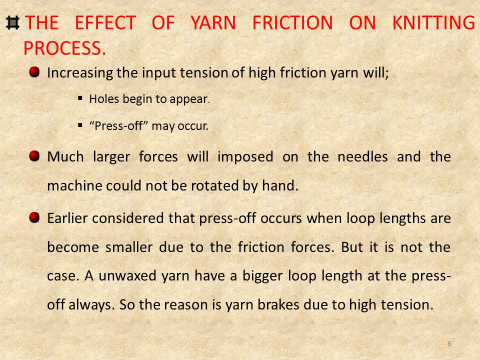 THE EFFECT OF YARN FRICTION ON KNITTING PROCESS.