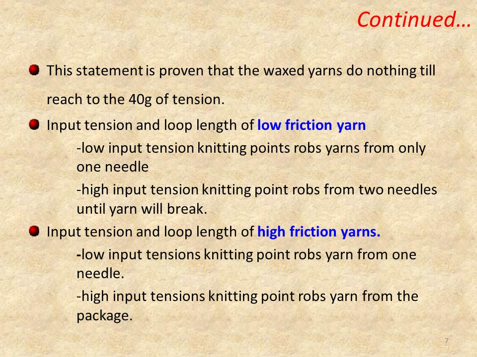 Continued… This statement is proven that the waxed yarns do nothing till reach to the 40g of tension.