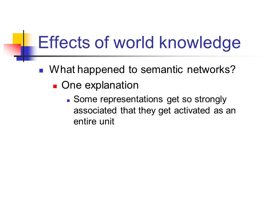 Effects of world knowledge What happened to semantic networks.