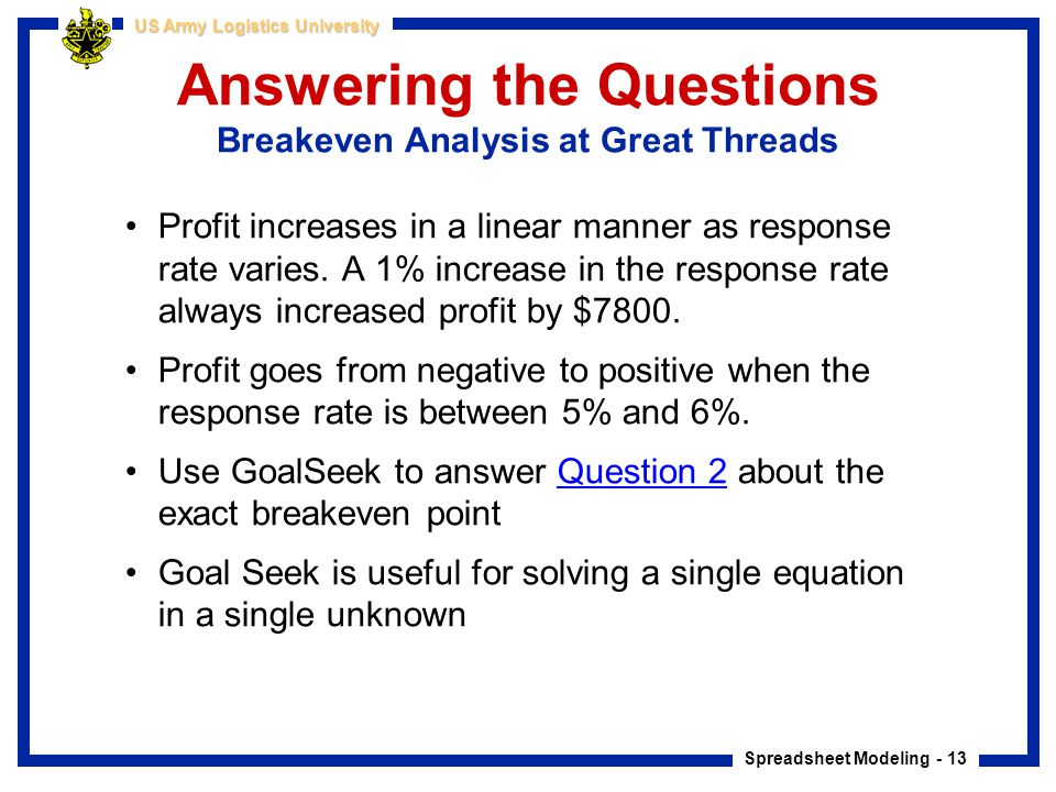 Spreadsheet Modeling - 13 US Army Logistics University Answering the Questions Breakeven Analysis at Great Threads Profit increases in a linear manner