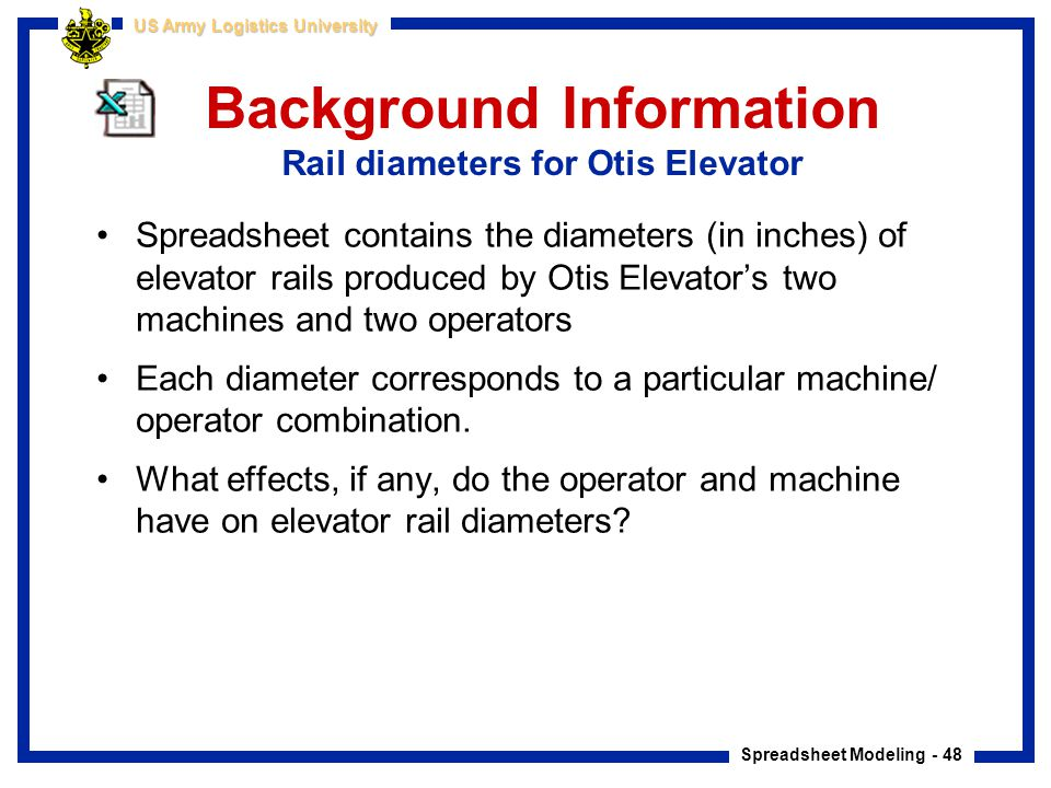 Spreadsheet Modeling - 48 US Army Logistics University Background Information Rail diameters for Otis Elevator Spreadsheet contains the diameters (in