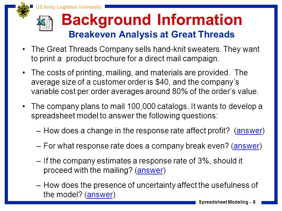 Spreadsheet Modeling - 8 US Army Logistics University Background Information Breakeven Analysis at Great Threads The Great Threads Company sells hand-