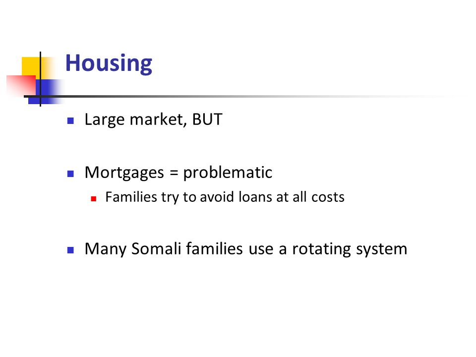 Housing Large market, BUT Mortgages = problematic Families try to avoid loans at all costs Many Somali families use a rotating system