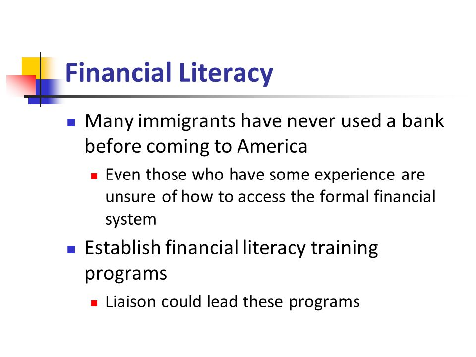 Financial Literacy Many immigrants have never used a bank before coming to America Even those who have some experience are unsure of how to access the formal financial system Establish financial literacy training programs Liaison could lead these programs