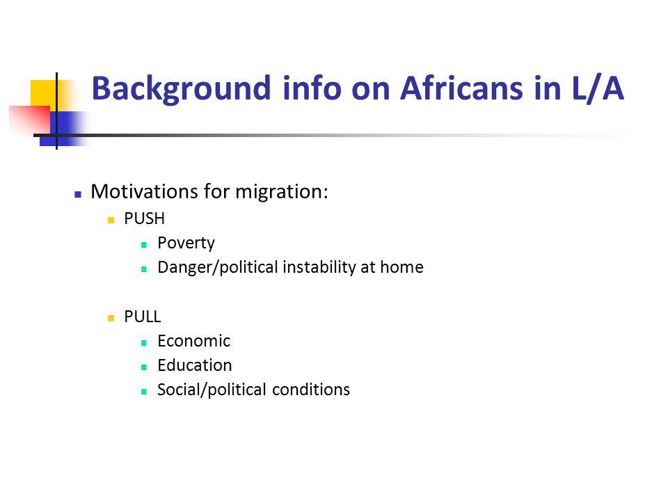 Background info on Africans in L/A Motivations for migration: PUSH Poverty Danger/political instability at home PULL Economic Education Social/political conditions
