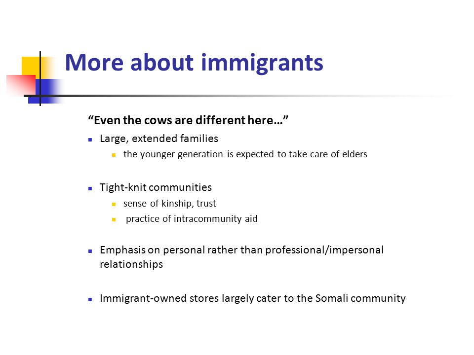 Remaining key points Anti-immigration movement in 2002 white supremacist demonstration & counter-demonstration Many Immigrants are open to assimilation but like to stay within tight-knit community children born in America more readily assimilate