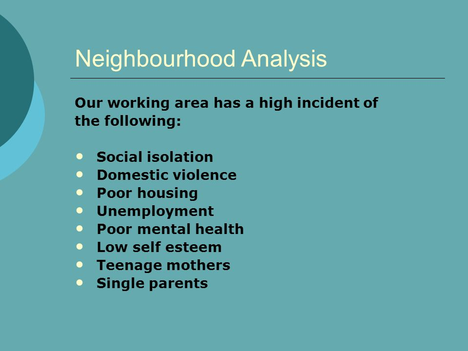 Neighbourhood Analysis Our working area has a high incident of the following: Social isolation Domestic violence Poor housing Unemployment Poor mental health Low self esteem Teenage mothers Single parents