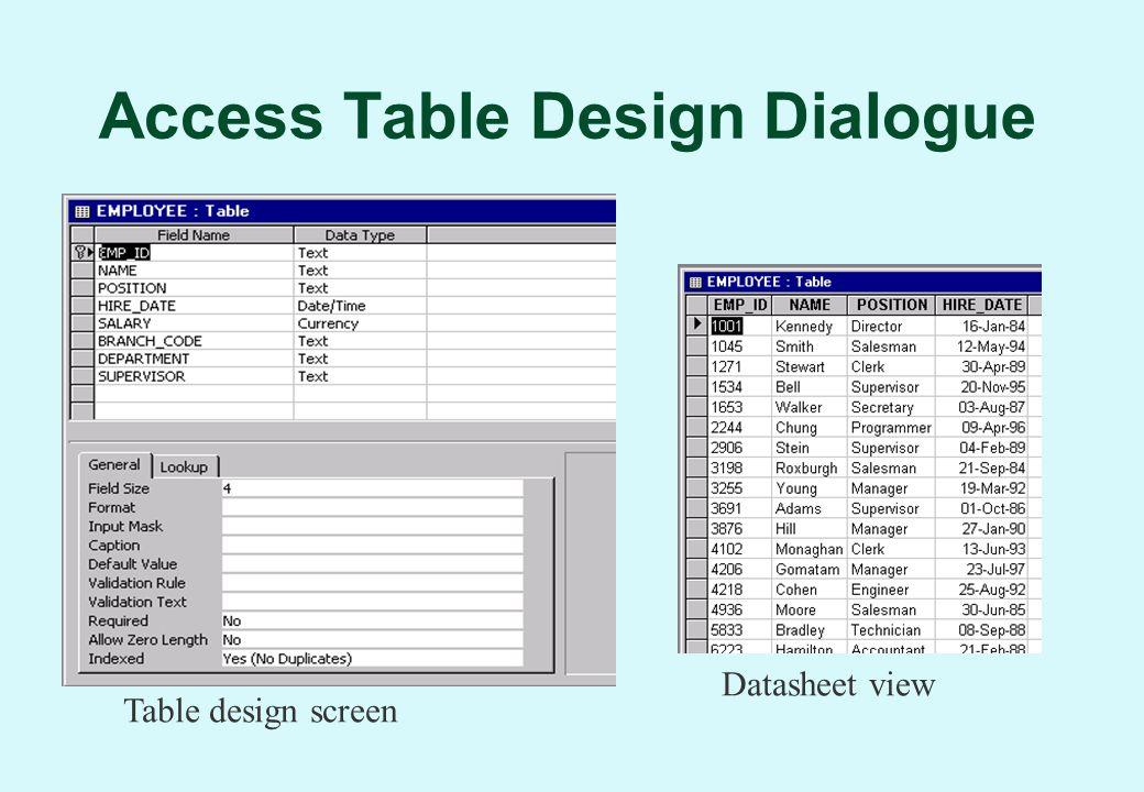 Access Table Design Dialogue Table design screen Datasheet view