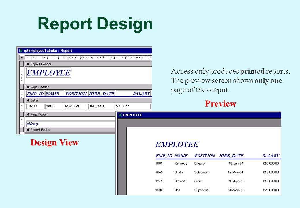 Report Design Design View Preview Access only produces printed reports.