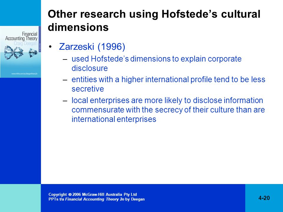 4-20 Copyright  2006 McGraw-Hill Australia Pty Ltd PPTs t/a Financial Accounting Theory 2e by Deegan Other research using Hofstede's cultural dimensions Zarzeski (1996) –used Hofstede's dimensions to explain corporate disclosure –entities with a higher international profile tend to be less secretive –local enterprises are more likely to disclose information commensurate with the secrecy of their culture than are international enterprises